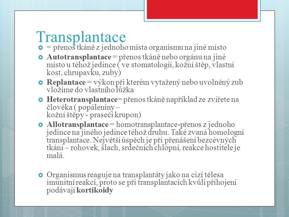 Transplantace = přenos tkáně z jednoho místa organismu na jiné místo