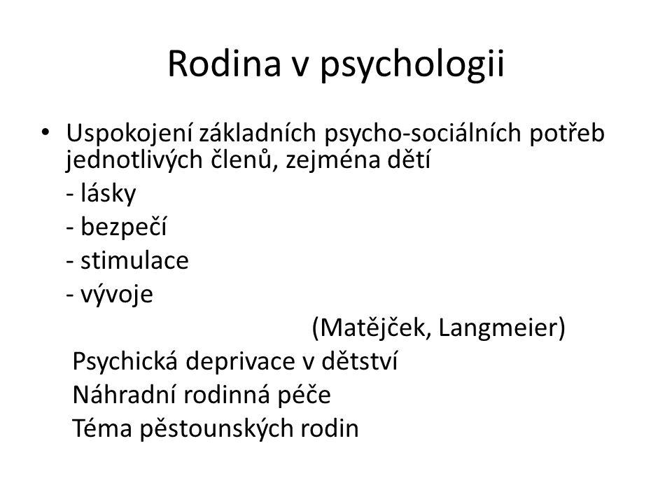 Rodina v psychologii Uspokojení základních psycho-sociálních potřeb jednotlivých členů, zejména dětí.