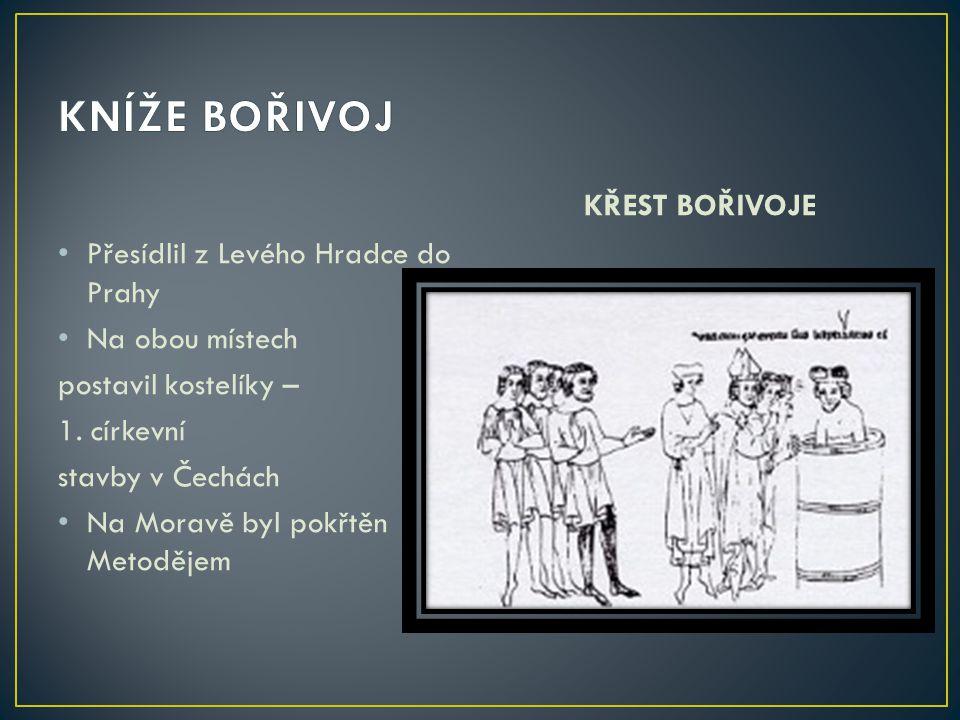 KNÍŽE BOŘIVOJ KŘEST BOŘIVOJE Přesídlil z Levého Hradce do Prahy