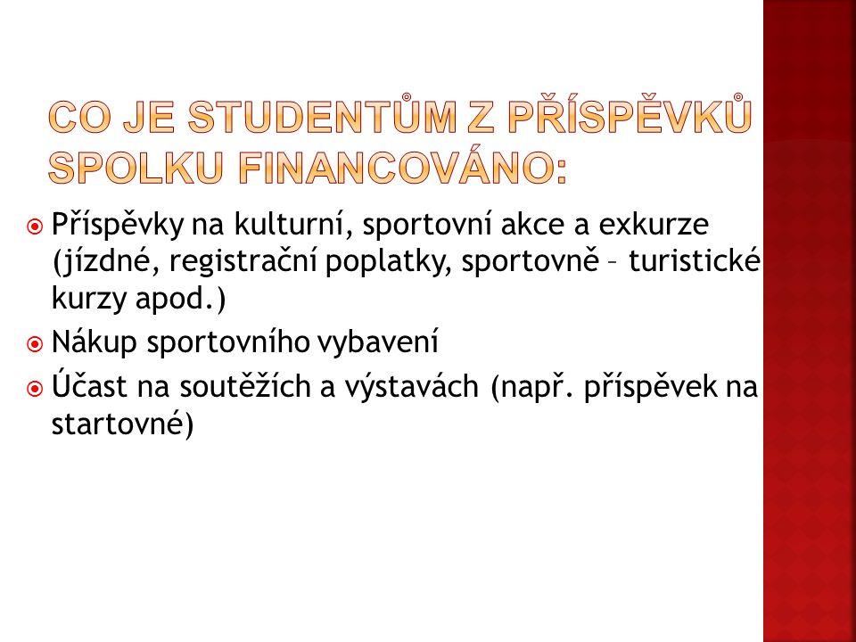 Co je studentům z příspěvků spolku financováno:
