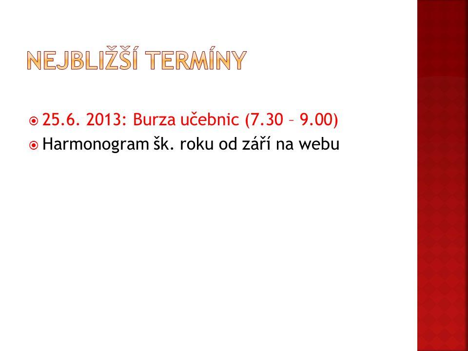 Nejbližší termíny 25.6. 2013: Burza učebnic (7.30 – 9.00)