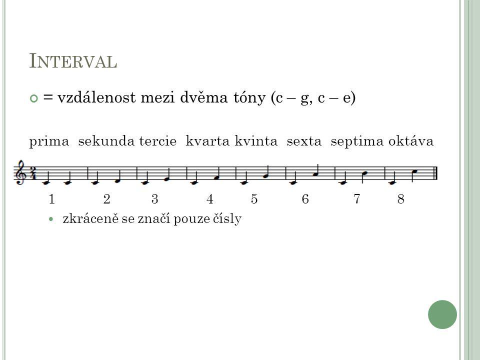 Interval = vzdálenost mezi dvěma tóny (c – g, c – e)