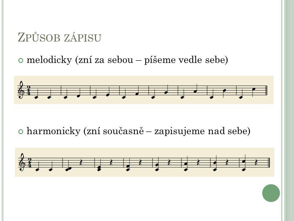 Způsob zápisu melodicky (zní za sebou – píšeme vedle sebe)