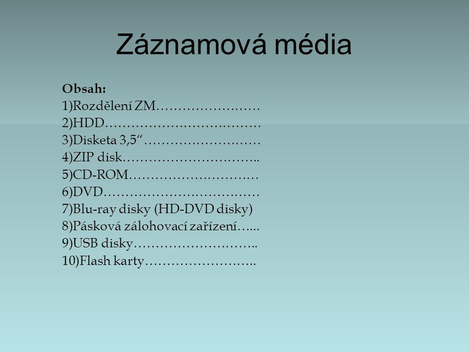 Záznamová média Obsah: Rozdělení ZM…………………… HDD………………………………