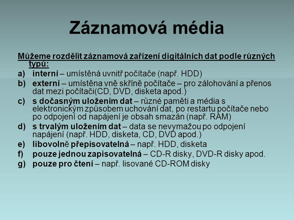 Záznamová média Můžeme rozdělit záznamová zařízení digitálních dat podle různých typů: interní – umístěná uvnitř počítače (např. HDD)