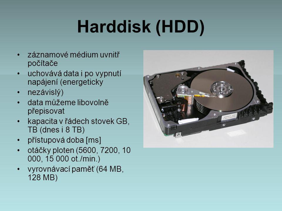 Harddisk (HDD) záznamové médium uvnitř počítače