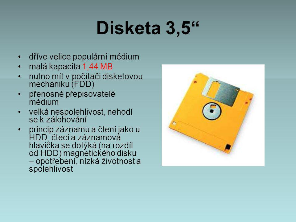 Disketa 3,5 dříve velice populární médium malá kapacita 1,44 MB