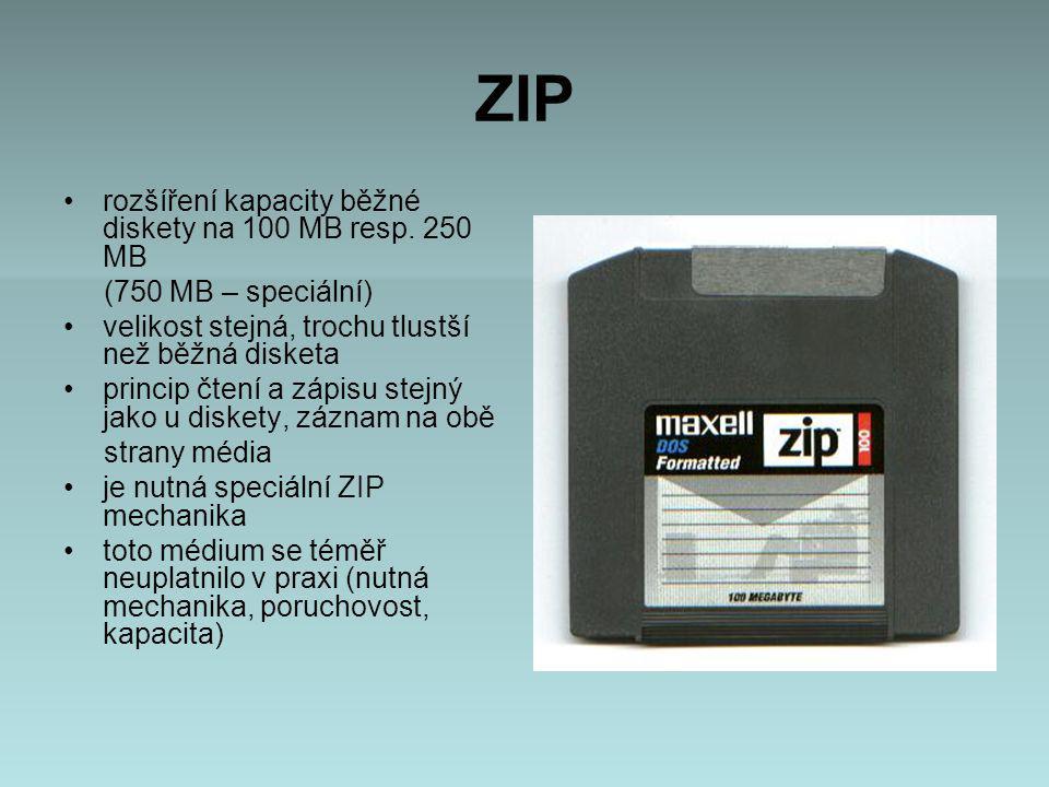 ZIP rozšíření kapacity běžné diskety na 100 MB resp. 250 MB