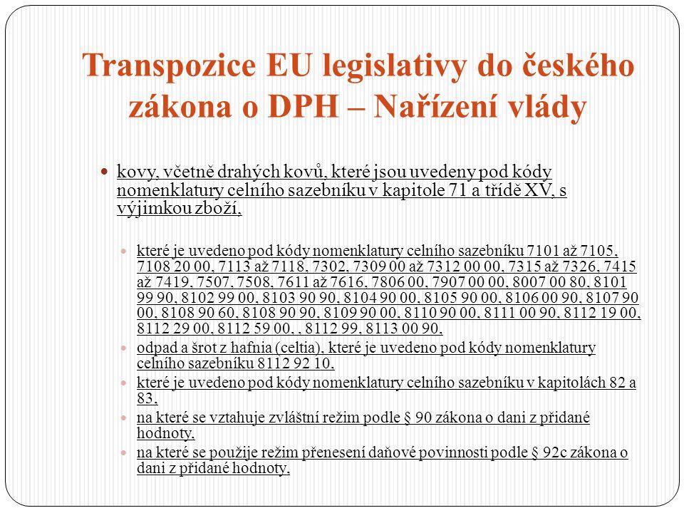 Transpozice EU legislativy do českého zákona o DPH – Nařízení vlády