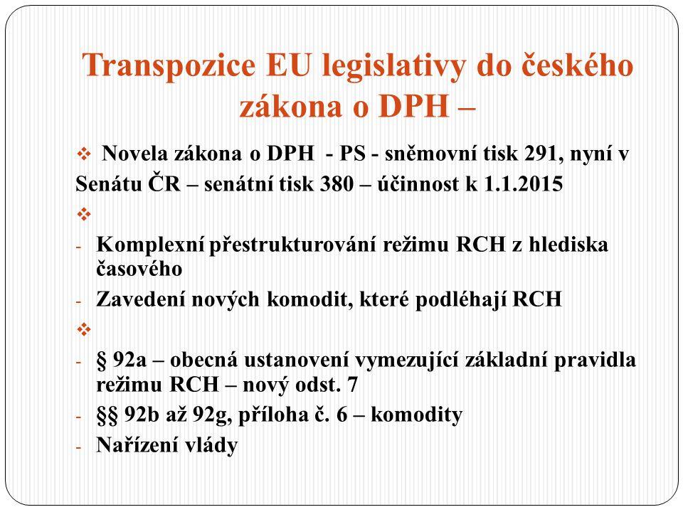 Transpozice EU legislativy do českého zákona o DPH –