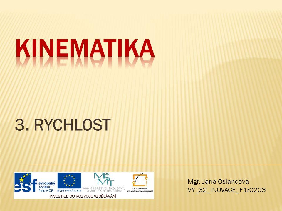 Kinematika 3. RYCHLOST Mgr. Jana Oslancová VY_32_INOVACE_F1r0203