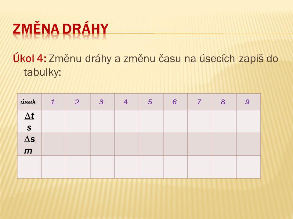 ZMĚNA DRÁHY Úkol 4: Změnu dráhy a změnu času na úsecích zapiš do tabulky: úsek. 1. 2. 3. 4. 5.