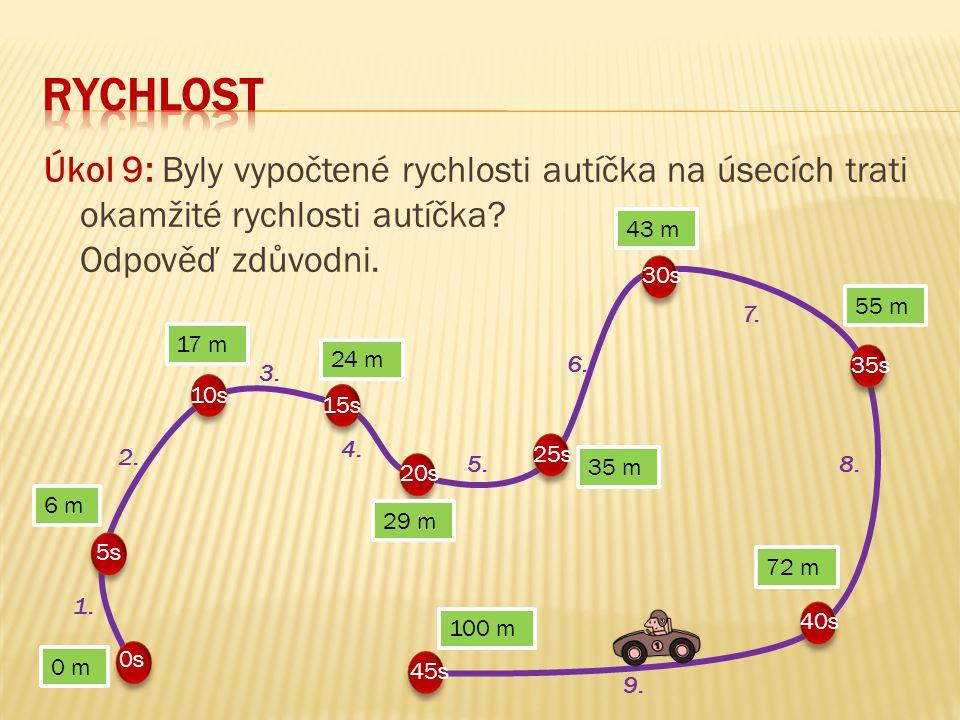 RYCHLOST Úkol 9: Byly vypočtené rychlosti autíčka na úsecích trati okamžité rychlosti autíčka Odpověď zdůvodni.