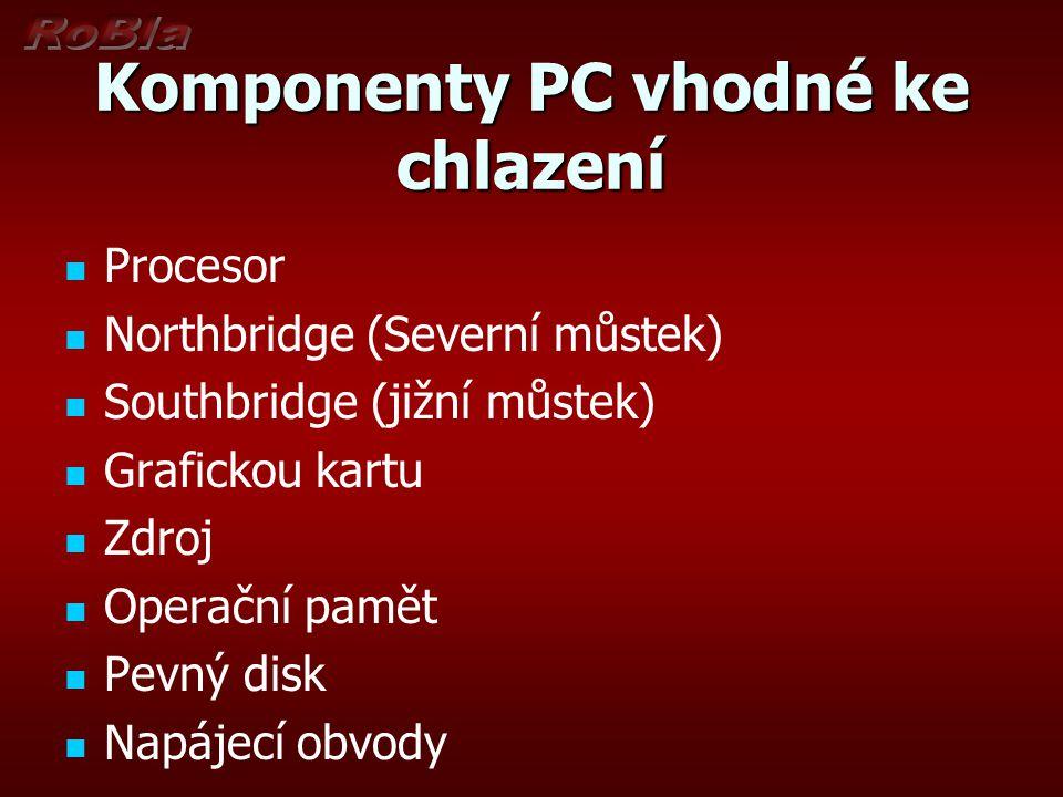Komponenty PC vhodné ke chlazení