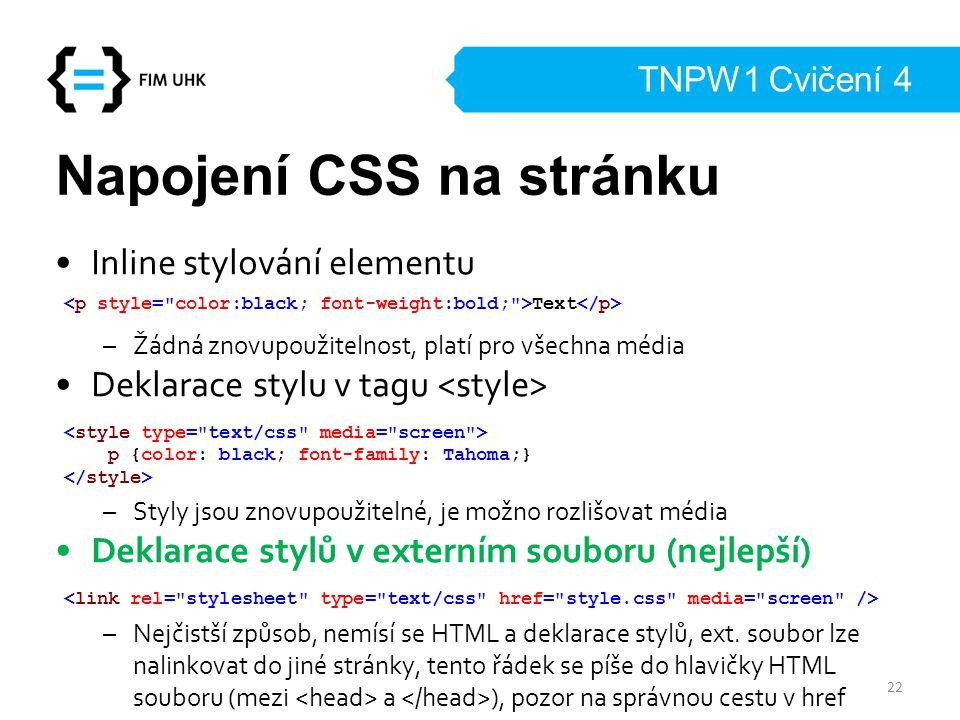 Napojení CSS na stránku