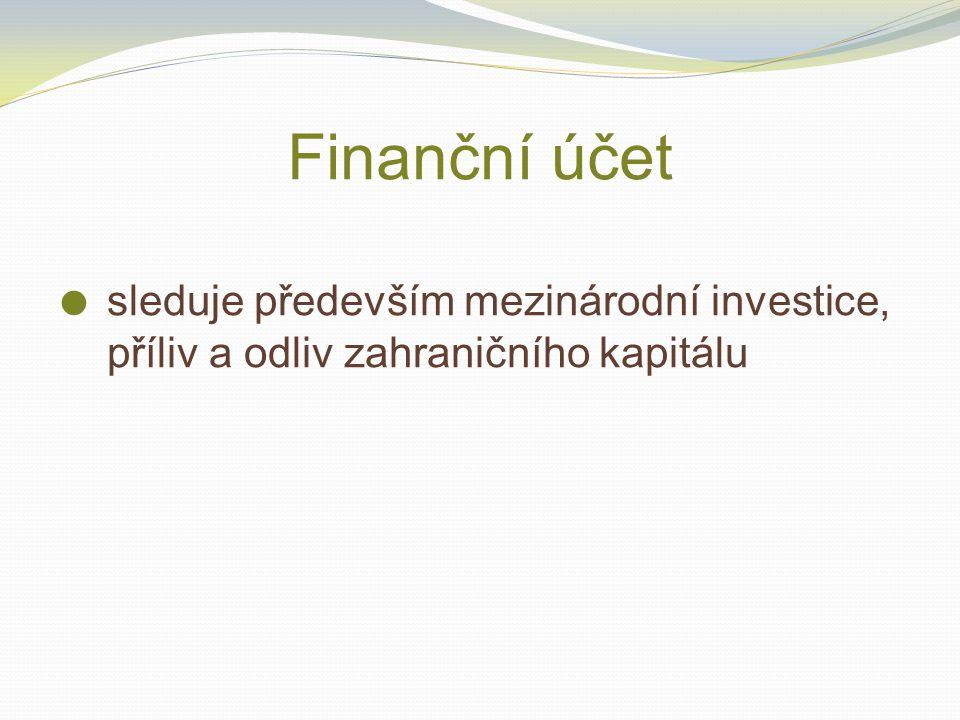 Finanční účet sleduje především mezinárodní investice, příliv a odliv zahraničního kapitálu