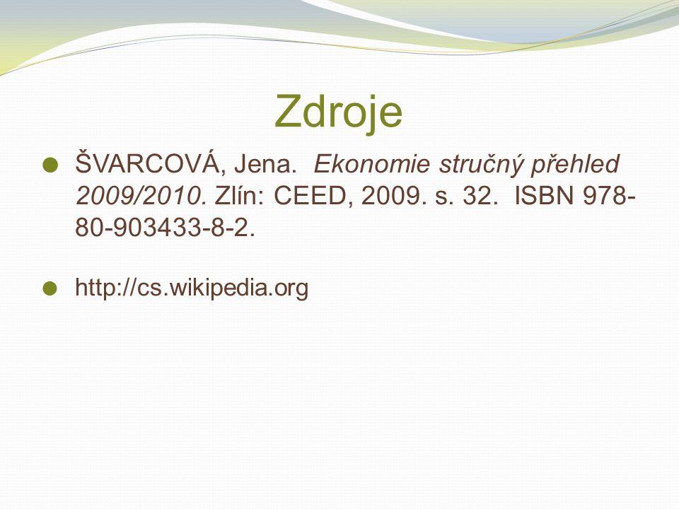 Zdroje ŠVARCOVÁ, Jena. Ekonomie stručný přehled 2009/2010. Zlín: CEED, 2009. s. 32. ISBN 978-80-903433-8-2.