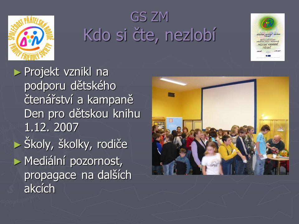 GS ZM Kdo si čte, nezlobí Projekt vznikl na podporu dětského čtenářství a kampaně Den pro dětskou knihu 1.12. 2007.