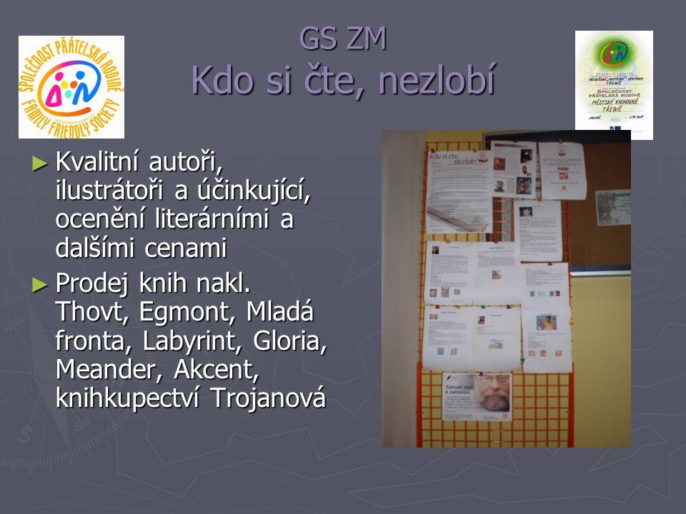 GS ZM Kdo si čte, nezlobí Kvalitní autoři, ilustrátoři a účinkující, ocenění literárními a dalšími cenami.