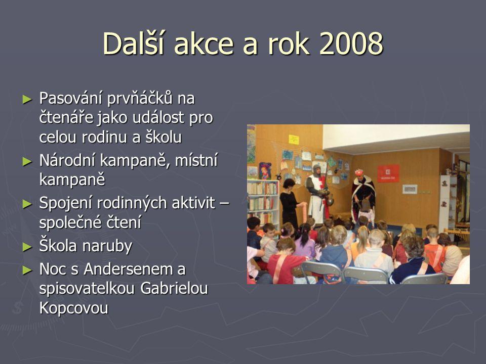 Další akce a rok 2008 Pasování prvňáčků na čtenáře jako událost pro celou rodinu a školu. Národní kampaně, místní kampaně.