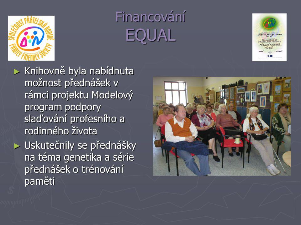 Financování EQUAL Knihovně byla nabídnuta možnost přednášek v rámci projektu Modelový program podpory slaďování profesního a rodinného života.