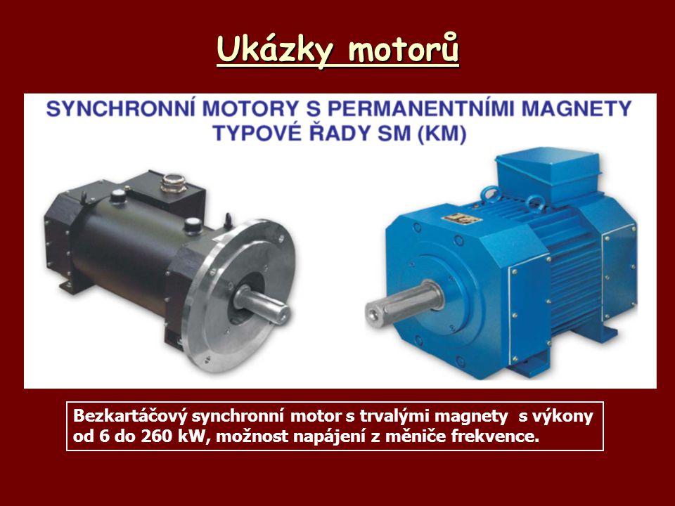 Ukázky motorů Bezkartáčový synchronní motor s trvalými magnety s výkony od 6 do 260 kW, možnost napájení z měniče frekvence.