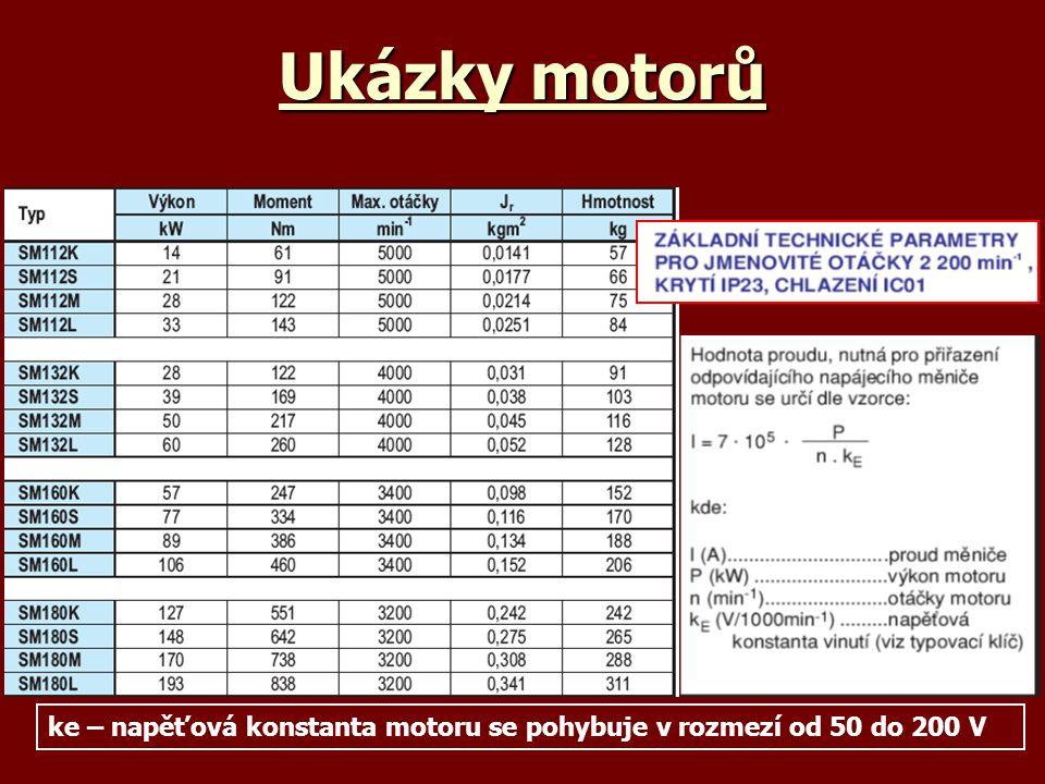 Ukázky motorů ke – napěťová konstanta motoru se pohybuje v rozmezí od 50 do 200 V