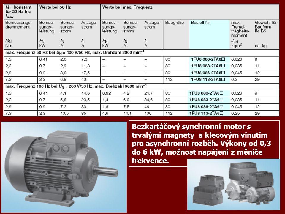 Bezkartáčový synchronní motor s trvalými magnety s klecovým vinutím pro asynchronní rozběh.