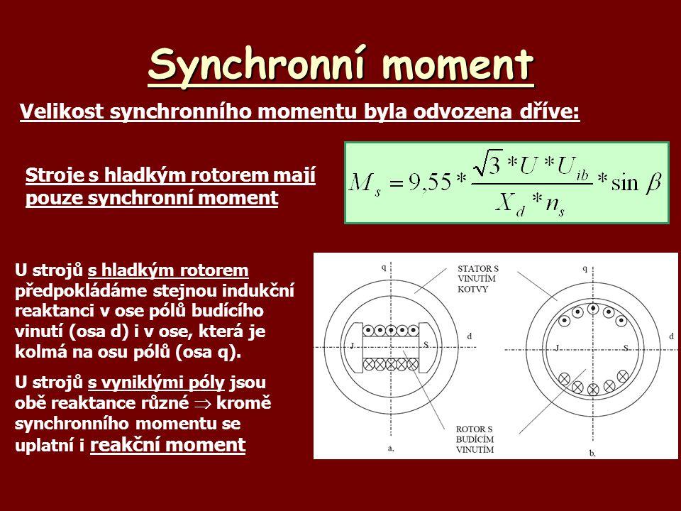 Synchronní moment Velikost synchronního momentu byla odvozena dříve: