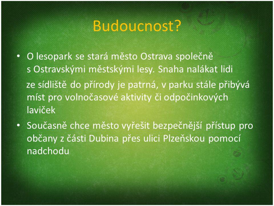 Budoucnost O lesopark se stará město Ostrava společně s Ostravskými městskými lesy. Snaha nalákat lidi.