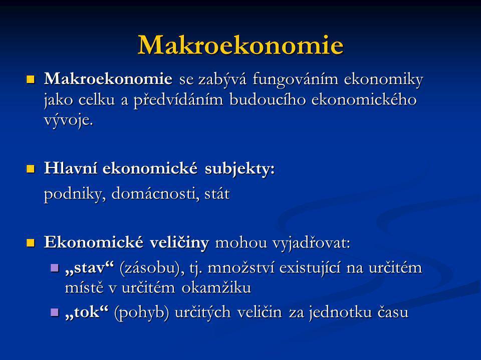 Makroekonomie Makroekonomie se zabývá fungováním ekonomiky jako celku a předvídáním budoucího ekonomického vývoje.
