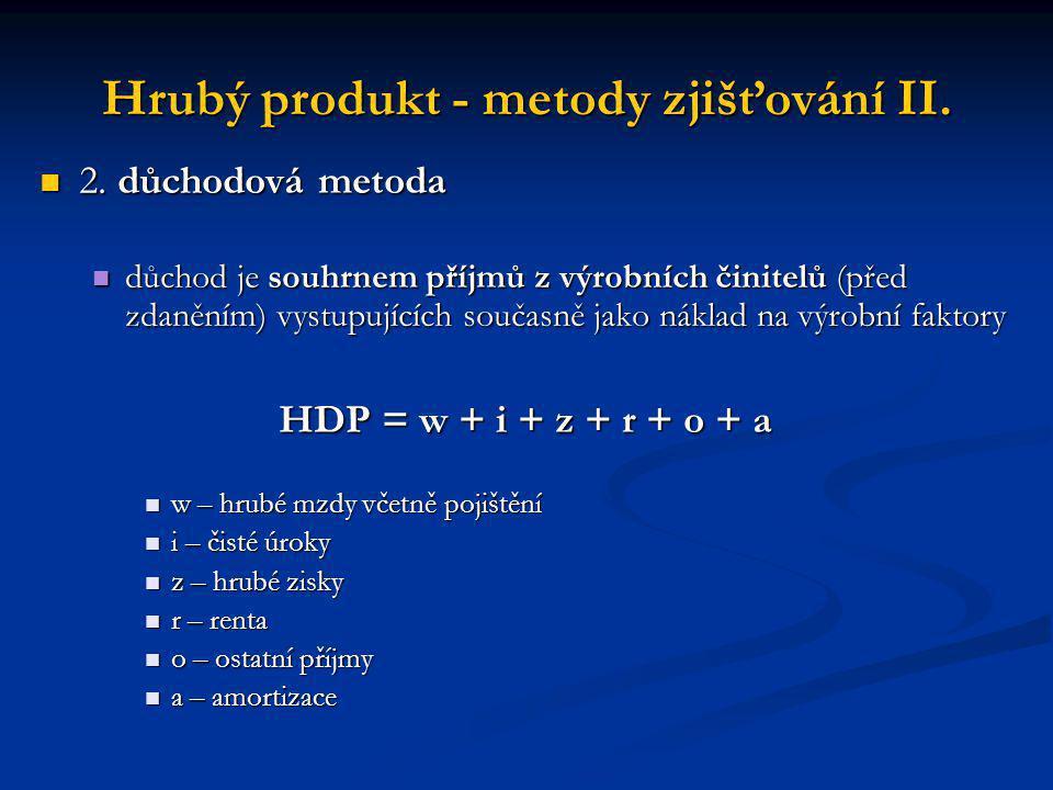 Hrubý produkt - metody zjišťování II.