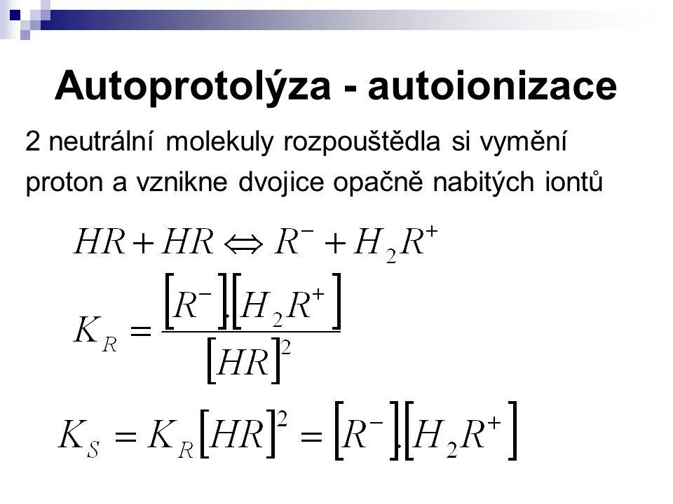 Autoprotolýza - autoionizace