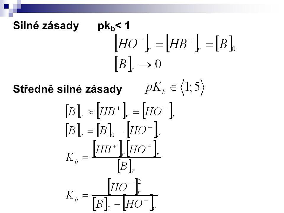 Silné zásady pkb< 1 Středně silné zásady