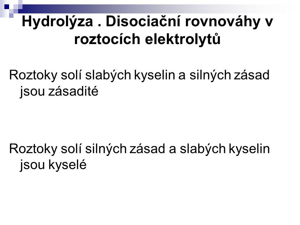 Hydrolýza . Disociační rovnováhy v roztocích elektrolytů
