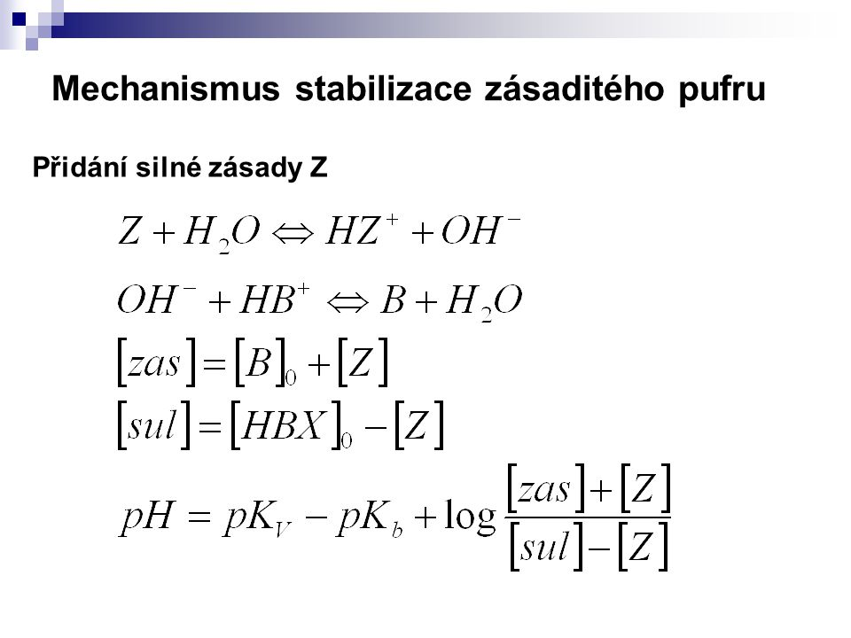 Mechanismus stabilizace zásaditého pufru