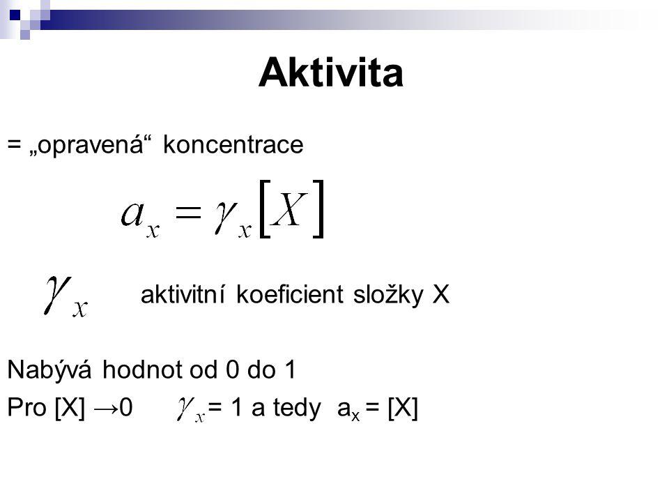 """Aktivita = """"opravená koncentrace aktivitní koeficient složky X"""