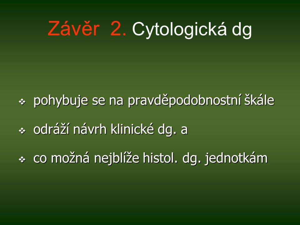 Závěr 2. Cytologická dg pohybuje se na pravděpodobnostní škále