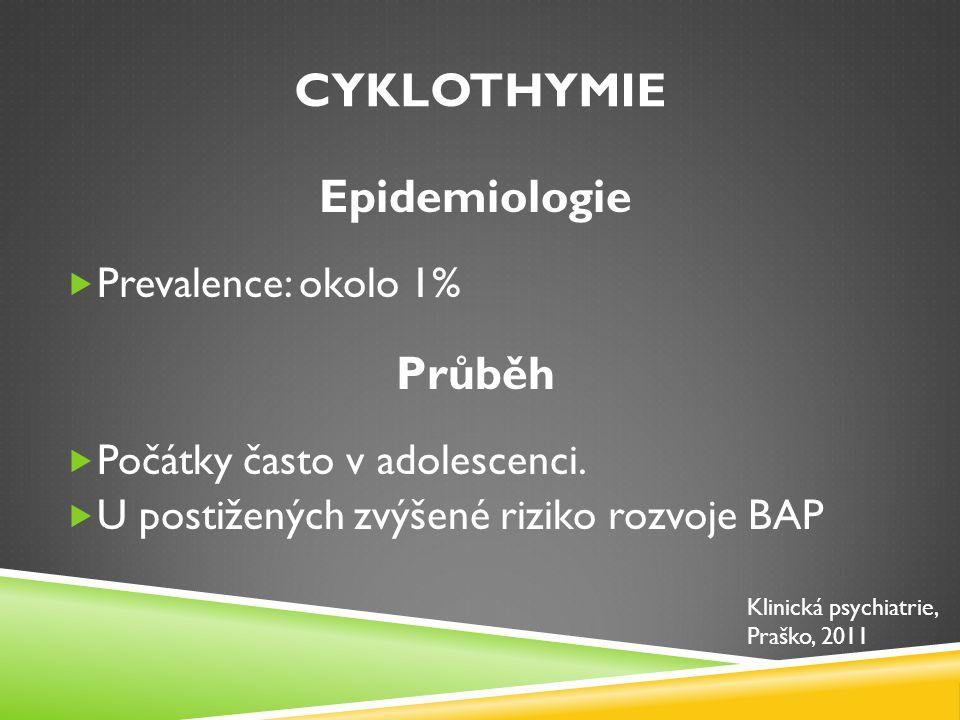 Cyklothymie Epidemiologie Průběh Prevalence: okolo 1%