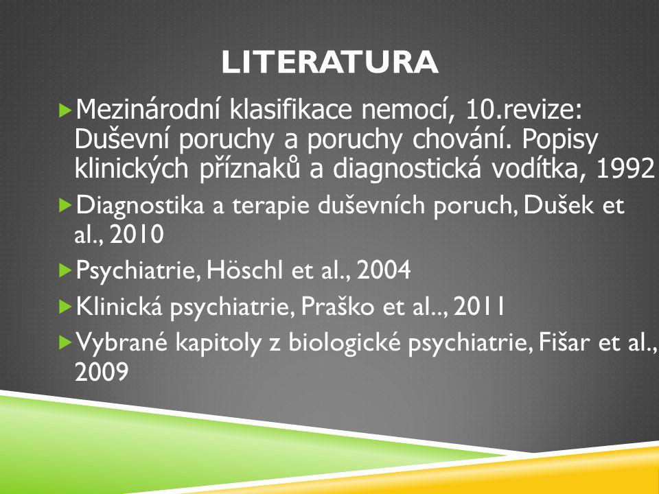 Literatura Mezinárodní klasifikace nemocí, 10.revize: Duševní poruchy a poruchy chování. Popisy klinických příznaků a diagnostická vodítka, 1992.