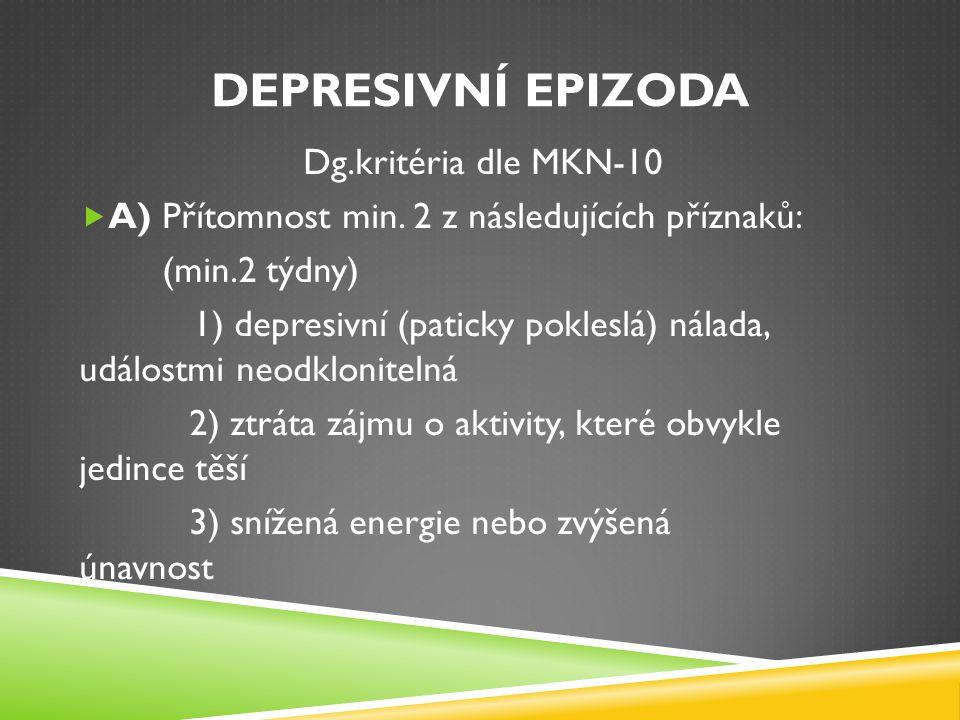 Depresivní epizoda Dg.kritéria dle MKN-10