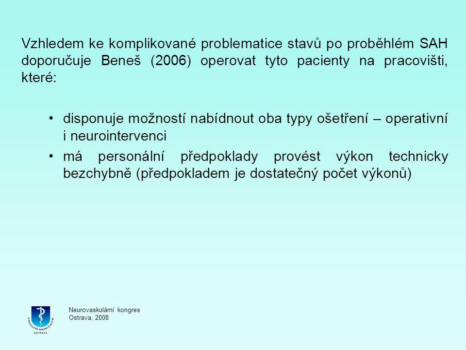 Vzhledem ke komplikované problematice stavů po proběhlém SAH doporučuje Beneš (2006) operovat tyto pacienty na pracovišti, které: