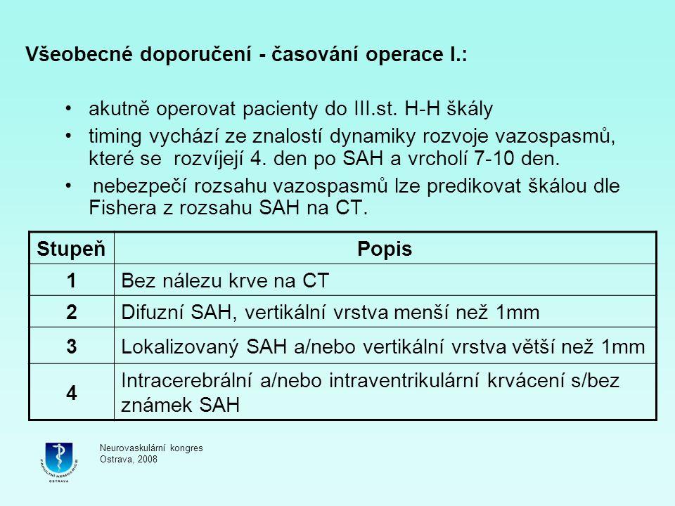 Všeobecné doporučení - časování operace I.:
