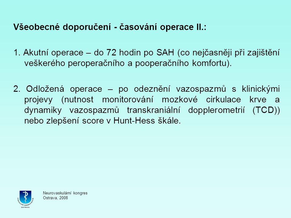 Všeobecné doporučení - časování operace II.:
