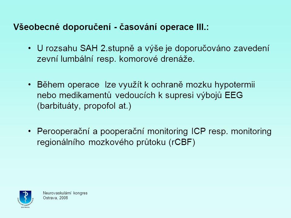Všeobecné doporučení - časování operace III.: