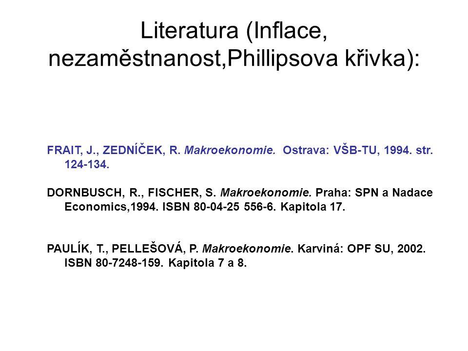 Literatura (Inflace, nezaměstnanost,Phillipsova křivka):