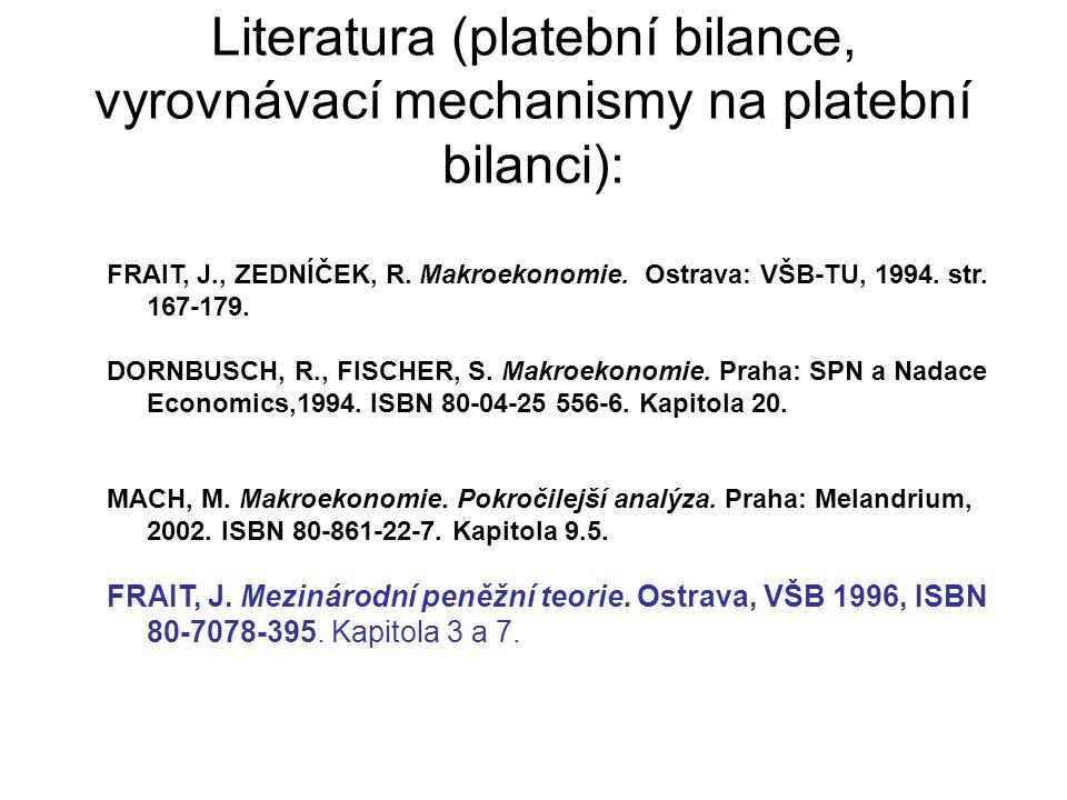 Literatura (platební bilance, vyrovnávací mechanismy na platební bilanci):