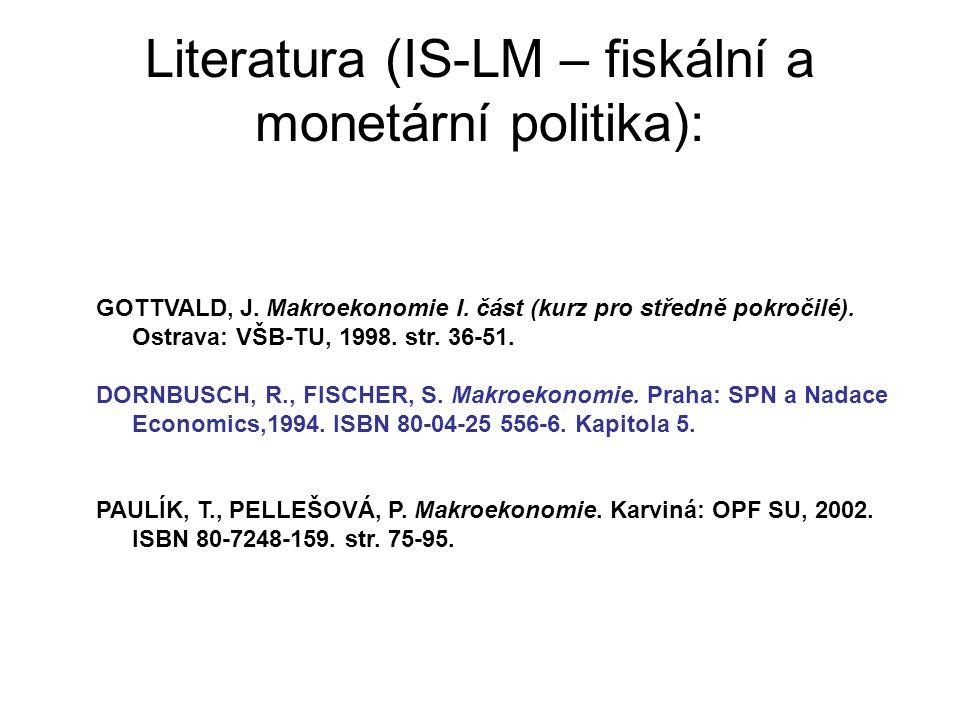 Literatura (IS-LM – fiskální a monetární politika):