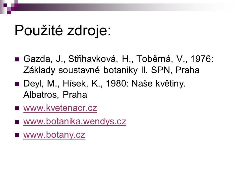 Použité zdroje: Gazda, J., Střihavková, H., Toběrná, V., 1976: Základy soustavné botaniky II. SPN, Praha.