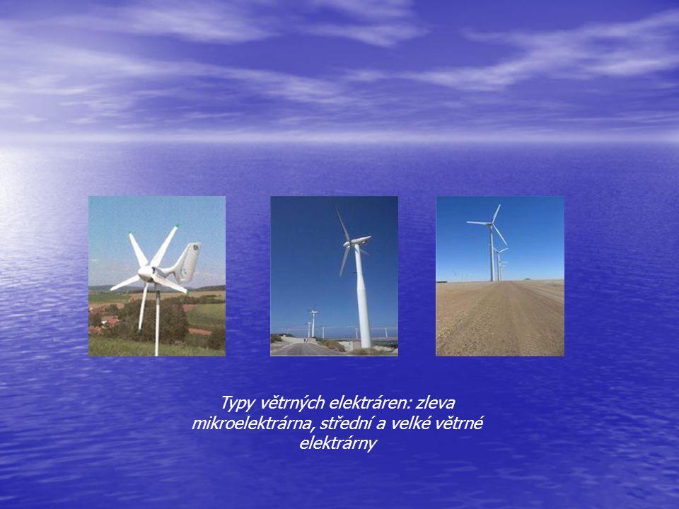 Typy větrných elektráren: zleva mikroelektrárna, střední a velké větrné elektrárny